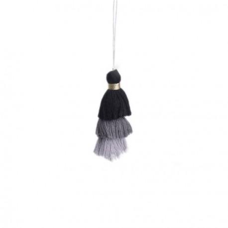 Pendentif 3 Pompons en coton, tons noirs et gris 7,5 cm