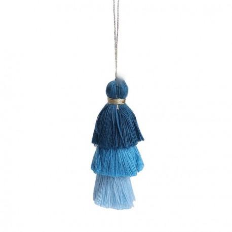 Pendentif 3 Pompons en coton, tons bleus 7,5 cm
