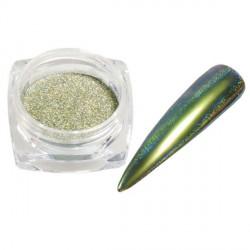 Pigment holographique effet velours pailleté vert