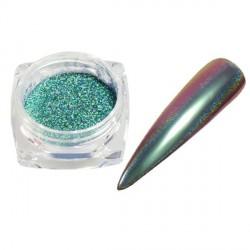 Pigment holographique effet velours pailleté vert eau - 0,5 gr