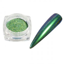 Pigment holographique effet velours pailleté vert intense - 0,5 gr