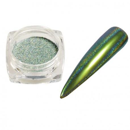 Pigment holographique effet velours pailleté vert turquoise - 0,5 gr