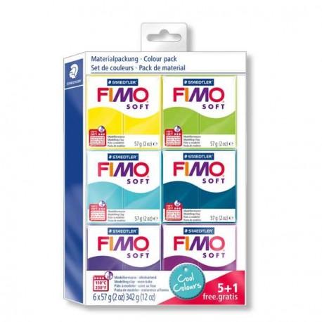 Kit 6 pains Fimo Soft 57 gr  - Couleurs froides