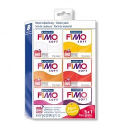 Kit 6 pains Fimo Soft 57 gr  - Couleurs chaudes