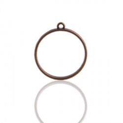 Pendentif contour rond 33 x 37 mm, bronze antique
