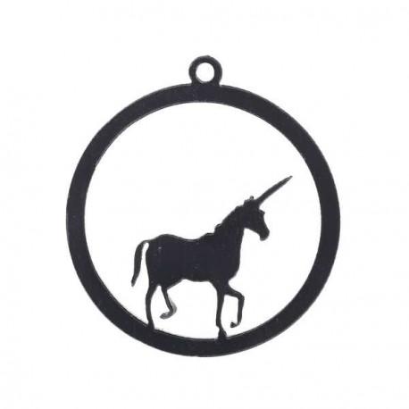 Pendentif contour Rond Licorne 52 x 52 mm, noir