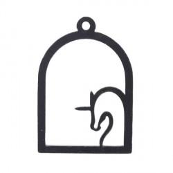Pendentif contour Cage Licorne 50 x 34 mm, noir