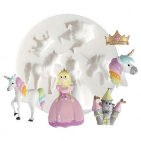 Mini moule silicone Licorne et Princesse