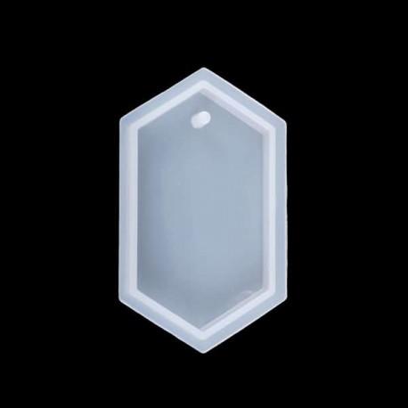 Moule silicone pour résine Gros Pendentif hexagonal avec trou