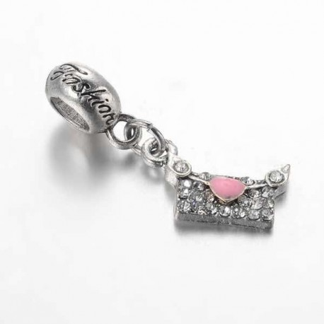 Charm pendentif Enveloppe strass rose style Pandora - à l'unité