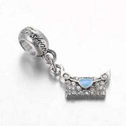 Charm pendentif Enveloppe strass turquoise style Pandora - à l'unité