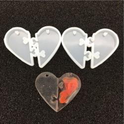 Moule silicone pour résine Coeur imbriqué, avec trou