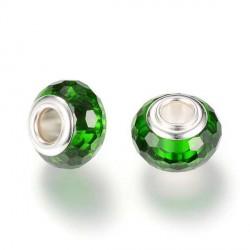 Perle de verre verte foncée aux mille facettes style Pandora - à l'unité