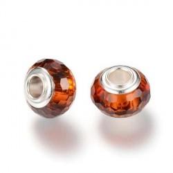 Perle de verre chocolat aux mille facettes style Pandora - à l'unité