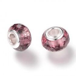 Perle de verre violine aux mille facettes style Pandora - à l'unité