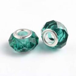 Perle de verre verte eau aux mille facettes style Pandora - à l'unité