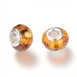 Perle de verre orange aux mille facettes style Pandora - à l'unité
