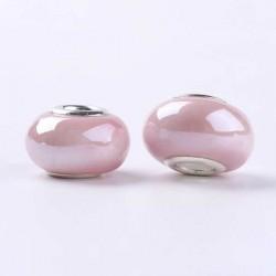 Perle porcelaine vernie Rose style Pandora - à l'unité