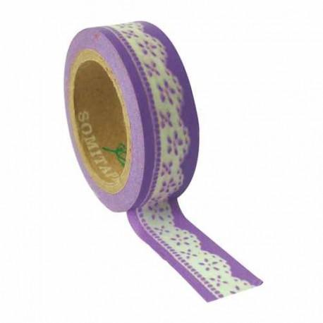 Masking Tape Dentelle mauve - 10 mm x 5 m