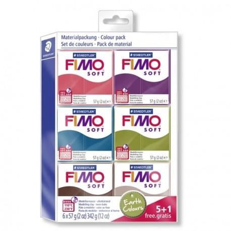 Kit 6 pains Fimo Soft et Effect 57 gr  - Couleurs naturelles