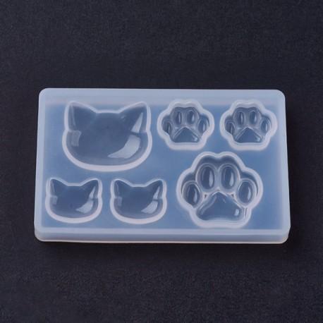 Moule silicone pour résine Pattes et Tetes Chat