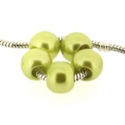 Perle ronde acrylique vert olive 10mm style Pandora - à l'unité