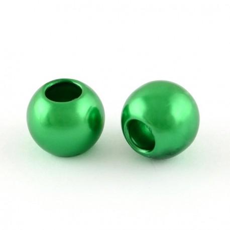Perle ronde acrylique vert 10mm style Pandora - à l'unité