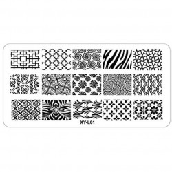 Plaque plastique Stamping Texture 6 x 12 cm N° 1