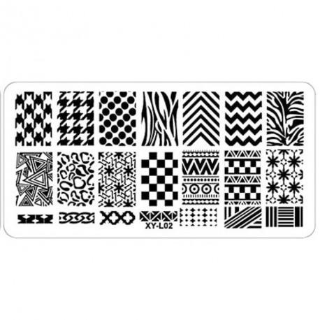 Plaque plastique Stamping Texture 6 x 12 cm N° 2