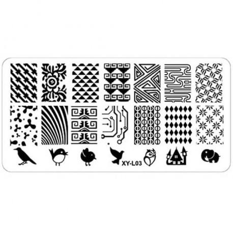Plaque plastique Stamping Texture 6 x 12 cm N° 3
