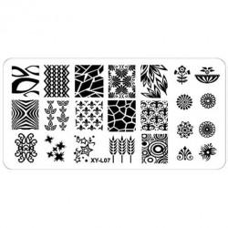 Plaque plastique Stamping Texture 6 x 12 cm N° 7