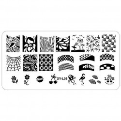 Plaque plastique Stamping Texture 6 x 12 cm N° 9