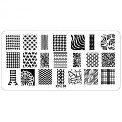 Plaque plastique Stamping Texture 6 x 12 cm N° 10
