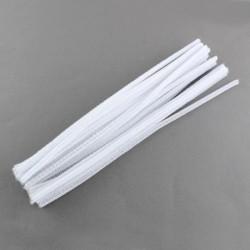 Fil chenille 30 cm Blanc x 10