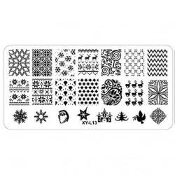 Plaque plastique Stamping Texture 6 x 12 cm N° 13 Noël