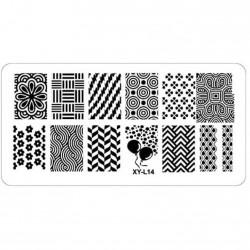 Plaque plastique Stamping Texture 6 x 12 cm N° 14
