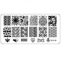 Plaque plastique Stamping Texture 6 x 12 cm N° 18
