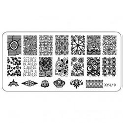 Plaque plastique Stamping Texture 6 x 12 cm N° 19