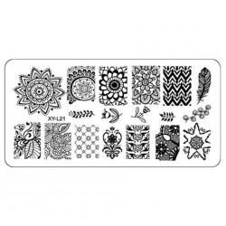 Plaque plastique Stamping Texture 6 x 12 cm N° 21