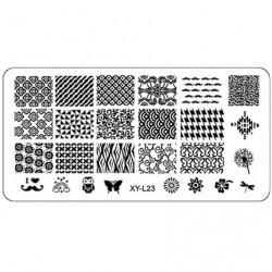 Plaque plastique Stamping Texture 6 x 12 cm N° 23