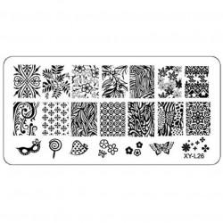 Plaque plastique Stamping Texture 6 x 12 cm N° 26