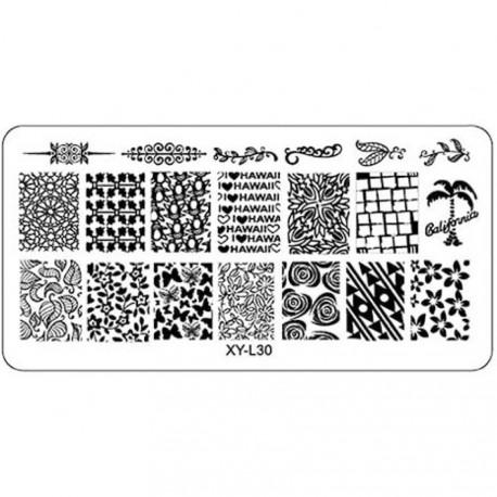 Plaque plastique Stamping Texture 6 x 12 cm N° 30