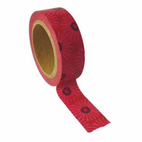 Masking Tape Rouge fleurs psyché - 10 mm x 5 m