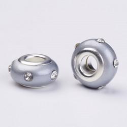 Perle en résine grise avec strass blanc style Pandora - à l'unité