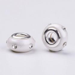 Perle en résine blanche avec strass blanc style Pandora - à l'unité