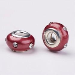 Perle en résine rouge avec strass blanc style Pandora - à l'unité