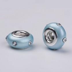 Perle en résine turquoise avec strass blanc style Pandora - à l'unité