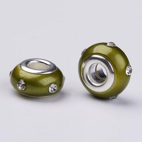 Perle en résine verte avec strass blanc style Pandora - à l'unité
