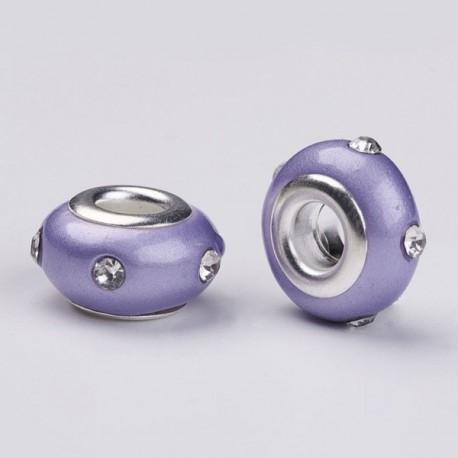 Perle en résine violette avec strass blanc style Pandora - à l'unité