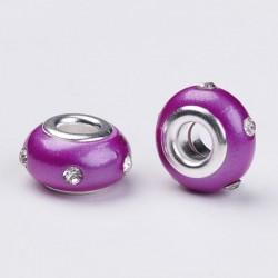 Perle en résine rose avec strass blanc style Pandora - à l'unité